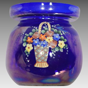 Czech Art Deco Cobalt Glass Hyacinth Vase