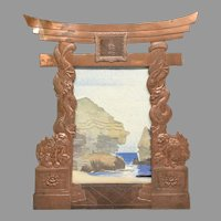 Old Copper Easel Frame Japanese Torii Gate Form