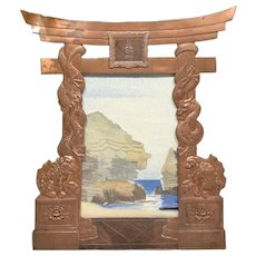 Old Copper Easel Frame Japanese Torii Gate Form