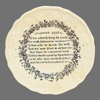 """19th C. Poem / Moral Cup Plate """"Against Lying"""""""