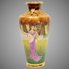Fine c1890s German Hand painted Vase Woman with Irises