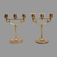Art Nouveau Bronze & Mixed Metals with Enamel Candelabra
