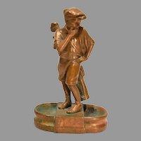 Rare 1920s Copper Clad Figural Golf Caddie Desk or Dresser Caddy