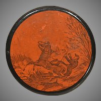19th Century Papier Mache Snuffbox Deer Hunter Unhorsed