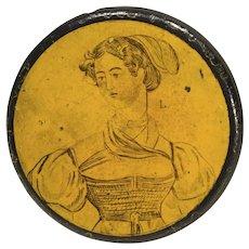 19th Century Papier Mache Snuffbox Lovely Girl