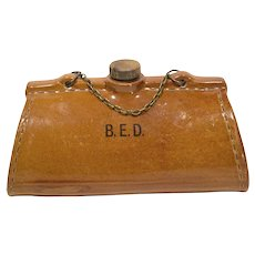 Unusual Old English Figural Pottery Bed Warmer