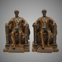 Abraham Lincoln by Daniel Chester French 1920s Jennings Bros Bookends