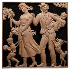 Art Deco Cast Iron Plaque German or Austrian