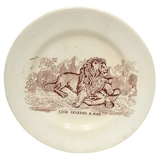 19th C. Staffordshire Cup Plate Lion Seizing A Man