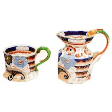 c1825 English Gaudy Welsh Jug & Mug Bethesda Pattern