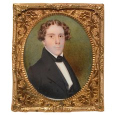 c1825 Miniature Painting Portrait of a Young Man