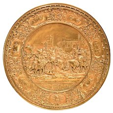 Antique Dore' Bronze German Plaque King Henry Entering Paris 1594