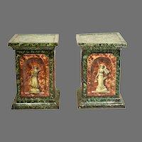 Pair of Huntley & Palmers 4 Seasons Pedestal Biscuit Tins