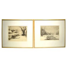 2 Original 1930s Etchings by C. Jac Young