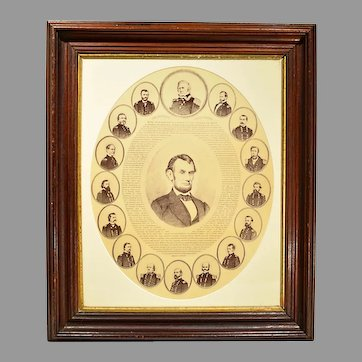 Rare Antique Print of The Emancipation Proclamation Lincoln & Union Generals