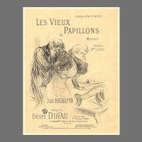 """Very Rare 1895 Henri Toulouse - Latrec Lithograph """"Les Vieux Papillons"""""""