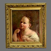 Antique English Oil Painting Child With Beads