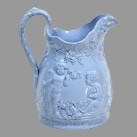 Large Blue 19th Century English Relief Molded Jug