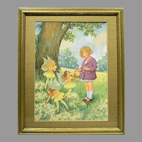 1920s English Watercolor Young Girl & Fairies