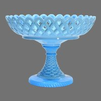 Challinor Taylor Open Lace Blue Glass Compote
