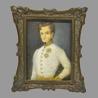 Antique Miniature Painting Young Man in Uniform