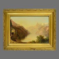 19th Century Painting Lake Lucerne Switzerland