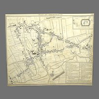 1814 Antique Map Plan Of Sherborne, Dorset UK