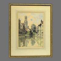 """Hans Figura Color Etching """"The Belfry - Bruges"""""""