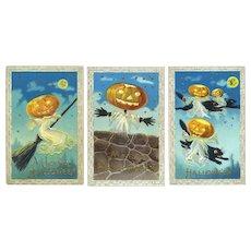 H-141 Barton Spooner, Lady Ghosts w JOL Heads 3 Antique Halloween Postcards