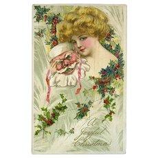 1911 Winsch / Schmucker Blond Lady, Santa Mask, Holly Berry, Antique Christmas Postcard