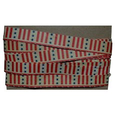 "Vintage Patriotic Stars & Stripes Paper Ribbon 3 yards x 1/2"" (K)"