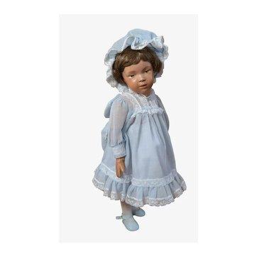 """Vintage Blue Cotton Dress and Bonnet fits 16"""" Dolls"""