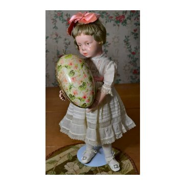 Old Easter Egg Candy Container, Pink Flowers