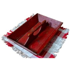 Vintage Red Painted Wood Cutlery or Utensil Caddy / Tray