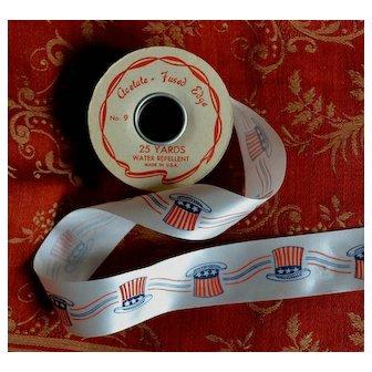 """Vintage Patriotic Acetate Ribbon 1-3/8"""" Wide, 25 YARD ROLL"""