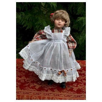 "Beautiful Vintage Pinafore, Lace & Ruffles, Fits 20"" + Dolls"