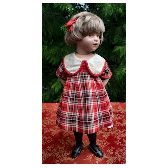 c.1930's Red Plaid Dress, Shirley Temple, Compo Dolls (no doll)