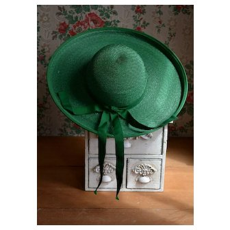 Striking GREEN Wide Brim Hat with Bow