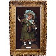 """c.1880s Christmas Girl Lisps """"Tiss Me!"""" Orig. Victorian Print in Ornate Frame SALE"""