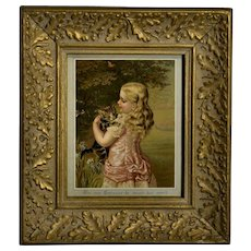 1880s Tabby Cat is Safe in Little Girl's Arms, Birthday  Greeting, Framed