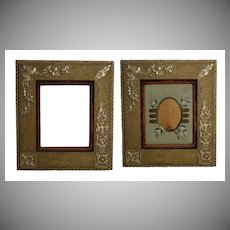 Antique Picture Frame, Decorative Aesthetic Gesso Ornaments on Wood, Orig Gold Paint, Velvet Liner, Removable Hand-Painted Mat