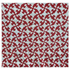 Red and White Quilt TOP, Drunkard Path 69 x 80
