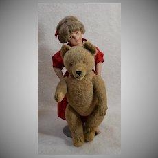 """Blind Early 15 """" Hermann Mohair Teddy - Careful - He Growls!"""
