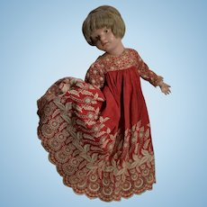 Antique Turkey Red Dress, White Hand Embroidery (no doll)