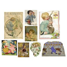 Rabbits, Children, Easter, 8 Pc Vintage Print Scraps, Salvage, Art Projects