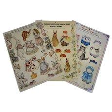 Vintage Paper Dolls, Alice in Wonderland, Peter Rabbit, Kitty, 1980s Merrimack Uncut