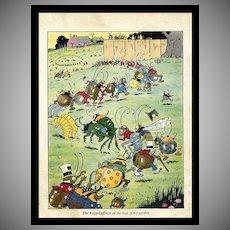 c. 1930s Raggedy Bugs Book Illustration, Harrison Cady