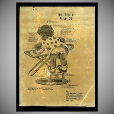 C.1940S Little Black Girl Ironing, 5 Pc Waxed Stencil with Overlays