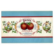 c. 1880's Daisee Apples, Original Food Can Label, Beautiful Graphics