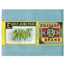 c. 1880 Early June Peas, Standard Brand, Victorian Food Label, Unused